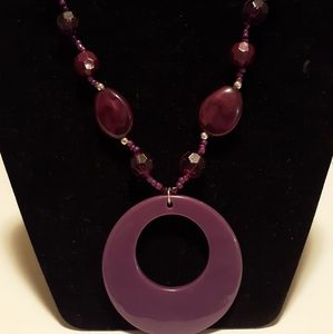"Jewelry - 19"" Purple Beaded Necklace"